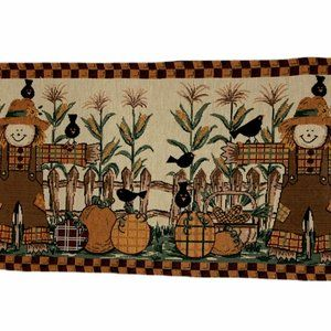 Table Runner Autumn Fall Tapestry Scarecrows 73x13